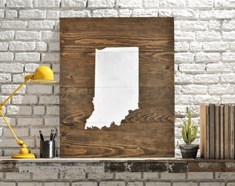"Indiana Wall Art - 17.5""W x 22""L. Wood Sign. State Art."