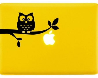 Cute owl sitting on branch - Decorative Laptop Skin Decal