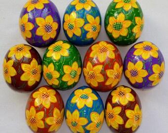 Set of 10 hand painted wooden Ukrainian Pysanky Easter Eggs Ukraine Pisanki Pysanka Pisanka Osterei art souvenir