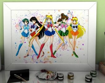 Sailor Moon Anime Manga Watercolor Print Poster Art Wall Decor no.141