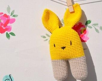 Two toned crochet bunny rattle