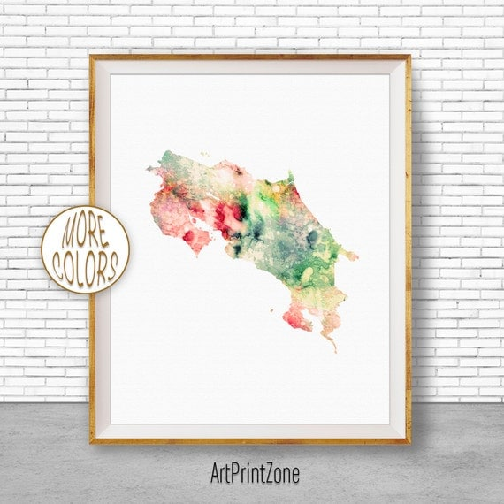 Costa Rica Map Print Watercolor Office Wall Decor Art Living Room Zone