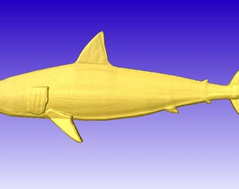 Shark 3d Vector Art Model for cnc projects or carving patterns in stl file format