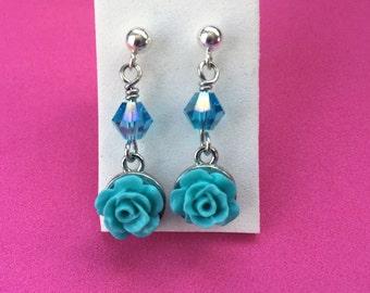 Blue rose dangle earrings- kids sterling silver drop earrings- little girls surgical steel rose earrings
