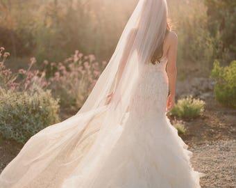 Raw Edge Veil Cathedral Veil Fingertip Wedding Veil Bridal Veil Ivory Off White Chanpagne White Floor Length Single Tier Veil, Cut Edge Veil