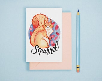 Squirrel Illustration Print - Animal Postcard, Animal Print, Alphabet Card, Nursery Art, Cute Greeting Card, Art Print, Wall Art