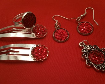 Silver tone Red Cabachon Jewelry