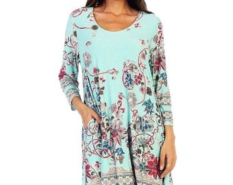 Style By Chris Border Print Swing Dress with Pockets and 3/4 Sleeves