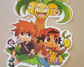 Red and Green Laptop sticker. - Pokemon Sun & Moon