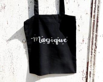 """Tote bag black """"Magic"""" cotton natural"""