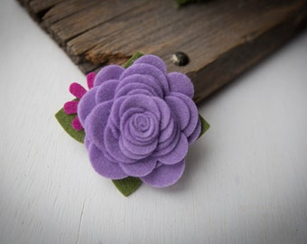 READY TO SHIP///Purple and Pink// Felt Flower Hair