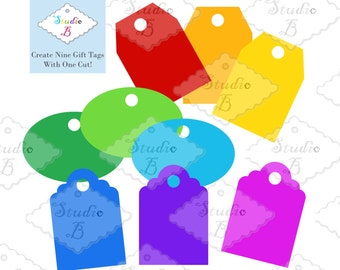 Gift Tag Template (Set of 9) - SVG Cutting Files