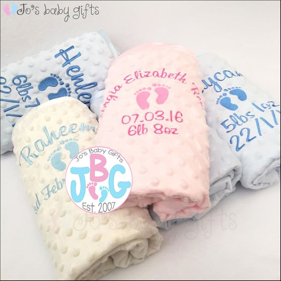 Personalised Bubble Baby Blanket, Embroidered Blankets