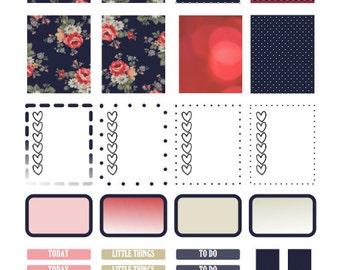 Navy Blue Floral Planner Stickers Printable- Erin Condren