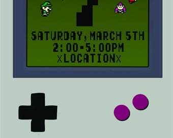 Video Game Kids Birthday Invitation