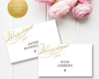 Printable Placecards, Place cards Wedding,Gold Wedding Place Cards, Wedding Placecard Template, Gold Place cards