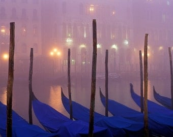 Venice, Italy, Gondolas on the Grand Canal in misty fog
