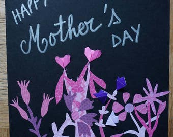 Happy Mother's Day flowers and hearts