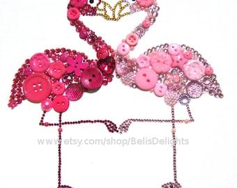 Flamingo Heart Celebrate Love Button & Rhinestone Wall Decor 8x10