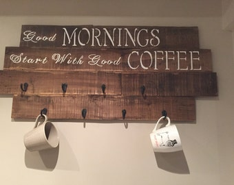 Country Coffee Mug Rack, coffee bar sign, cup holder