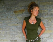 Khaki green shirt for women, Festival clothes, Open back Tribal top, Daenerys clothing, Sexy blouse, Fairy wear, Boho fashion, Funky style