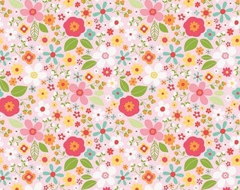 Pink Floral Fabric/ Garden Girl Fabric/ Mini Flower Fabric/ Riley Blake Fabric/ Little Girl Fabric/ Baby Girl Fabric/ Pink Fabric