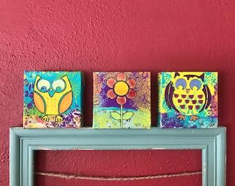 Mixed Media Art, Mixed Art Canvas, Wall Art, Autumn Owls