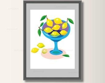 Lemons, poster art print, poster wall art, nursery decor, minimalist set pressure, minimal print