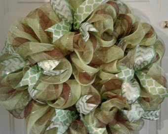 Lime green and Brown plaid door wreath