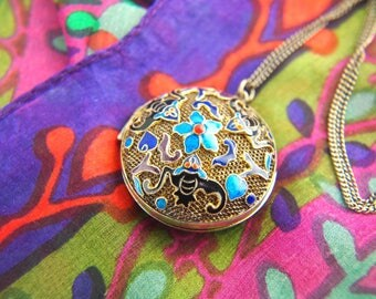 Enamel Bat Locket - Chinese Locket - Vermeil Locket - Sterling Silver Locket - Vintage Locket