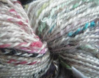 """Fantasia """"mohair wool and threads of any kind, spun with spinning wheel"""
