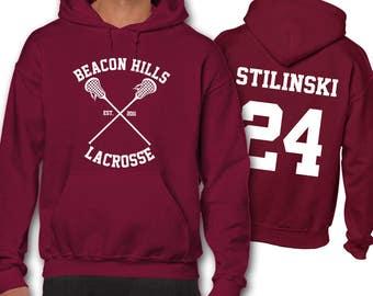 Stilinski Stiles 24 Teen Wolf Lacrosse Hoodie Adult Hoodies Beacon Hills Unisex Men's Gift Present