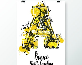 Appalachian State Poster - Watercolor Print - App State - 5x7, 8x10, 11x14 - Boone NC - Watercolor Painting - Mountaineer Poster - Pinterest