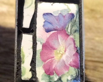 Handmade Mosaic Pendant Necklace: Morning Glories