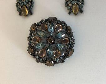 SCHREINER Brooch And Earrings