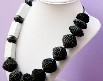 Black card necklace with silver elements, handmade, ecofriendly