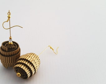 Gold card earrings, handmade, ecofriendly
