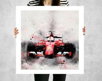 Ferrari, painted canvas art, Formula 1, F1, F1 racing, formula one, oversized art prints, large canvas paintings, racecar nursery