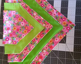 Pink Flower Dog Bandana, Reversible Bandana, Lime Green on Reverse, Spring Bandana, Puppy Bandana, Dog Hankerchief, Over the Collar, Flowers