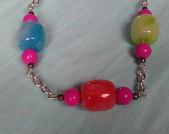 Multicoloured Large Cylindrical Bead Chain Link Silver Plated Fashion Necklace Handmade