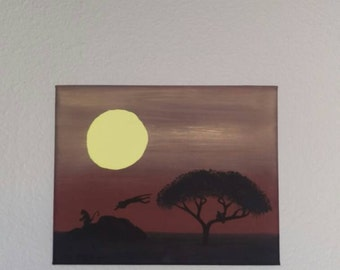8x10 Monkeys in Africa Acrylic Painting