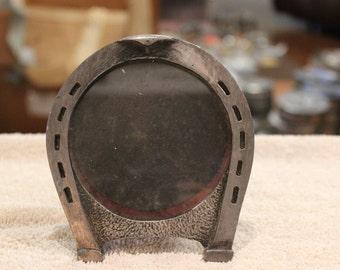 Vintage Metzke pewter horseshoe frame