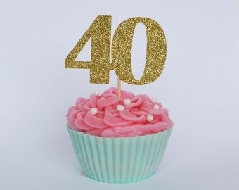 40th Birthday Cupcake Toppers, 40th Birthday Cake Topper, Glitter Card, Number Cake Topper,  40th Birthday Party Decor, Age Cake Topper
