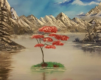 Wall painting, canvas, painting, hand painted.  Mountain landscape a la Bob Ross 50 x 70