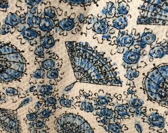 Vintage 1930s blue and white print full skirt - size 8/10 - AMAZING very rare fabric! Perfect for spring and summer with a  cropped cardigan