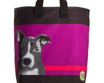 Reuseable Market Bag - Made from Recycled Materials - Eco-Friendly - Washable - Grocery Bag - Pitbull - Dog - Black
