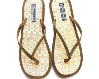 Flip-Flops of rice straw with thong khaki velvet (4.5-13.5)
