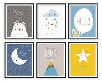 Giclee print, Set of 6, Twinkle Twinkle Little Star, Scandinavian Style, Minimalist Poster, Nursery Wall Art, Raindrops, Moon and star, Gold
