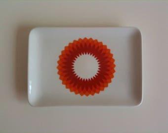 Beautiful Small cake plate, bread plate, serving dish, orange, white, Bavaria Schumann, Arzberg, Germany, 70s, vintage
