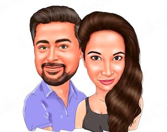 CUSTOM Couple Cartoon Portrait, Personalized Couple portrait, Couple Gift, Digital caricature from your photo